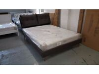 NEW KING SIZE GREY FABRIC DESIGNER BED WITH PILLOW BACK HEADBOARD & ORTHOPAEDIC MATTRESS CAN DELIVER