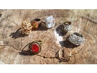 job lot Bundle Vintage retro 1970s 70s Costume jewellery dress rings gold silver and gem style