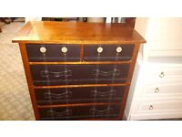 Hardwood Chest of Drawers with Leather trim