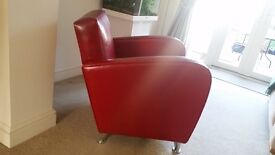 Vintage-style art deco 1920s red leather cinema chair