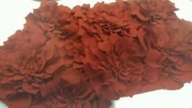 Deep red felt cushion covers