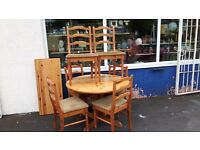 Solid Pine Extending Table and 6 Chairs