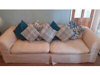 Large 4 Seater Sofa ~ Hard Wearing Washing Machine Friendly Cream/ Beige Fabric