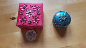 Two lovely ethnic trinket boxes £2