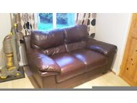 ***FREE*** Two seater and 3 seater brown leather sofa