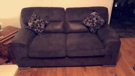 2 two seater grey fabric sofas