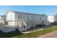 4 berth static Holiday caravan for hire Suffolk Sands Felixstowe quite site next to beach
