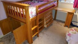 Childs Bed - Sleep station with pull out desk & Silent Night Mattress.