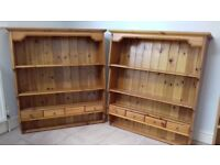 Two Wall mounted Solid Pine Storage Display units