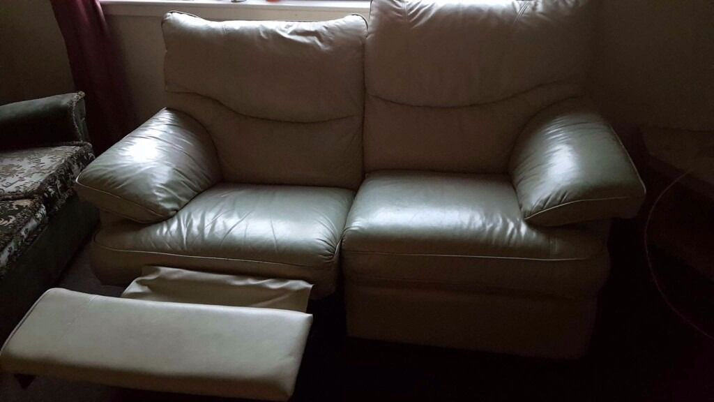 2 Seater Cream Leather Recliner Sofa In Kirkliston