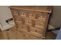 Wooden Drawers/Dresser with shabby chic vintage handles.