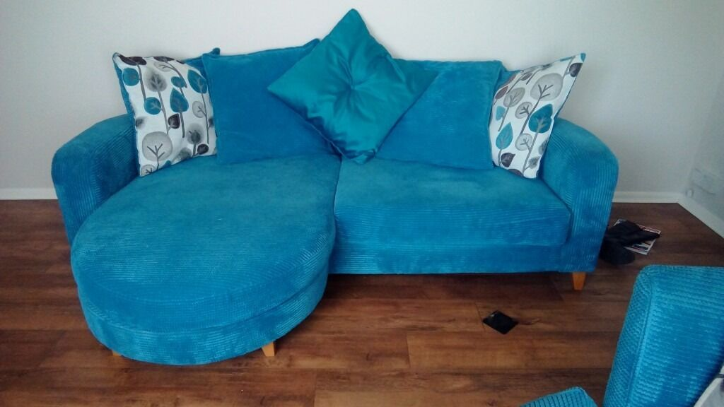 Teal Blue DFS 4 Seater Sofa With Matching Swivel Cuddle Chair