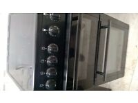 beko freestanding electric cooker double oven fan oven black 19inches wide ceramic top
