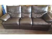 Brown leather 3 Seater and 2 Seater reclining suite