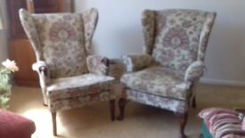 Winged chair tapestry type upholstery recently replaced