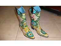 Ladies Flower Power Cowboy Wellies! UK Ladies size 7 Great Price! Never worn outside!
