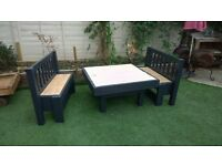 home made kids art/work table with 2 benches