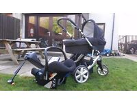 Britax B Smart 3 pushchair and carrycot and romer isofix carseat with rain covers