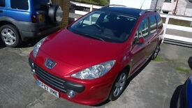 peugeot 307 sw hdi s estate, 2007 registration, 2.0 turbo diesel , covered only 113,000 miles