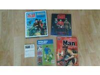 5 x action man official dossier / gold medal doll / footballer book / collector card