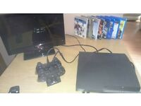 PS3 Slim 160gb with 2 controllers & games