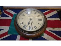 """Vintage Smiths Astral Timber Wall Clock Wind Up Movement 8"""" Dial"""