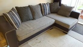 Corner Sofa & Footstool - Grey/Black/Steel-blue, excellent condition, only 4yrs old