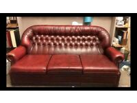 Chesterfield style leather sofa in Burgundy
