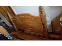 Chunky Pine Double Bed with Mattress
