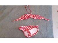 Surfdome red and white love heart girls bikini