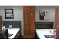 Double wardrobe in pine with top storage compartment and drawer - British Heart Foundation