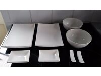 Typhoon gloss white oriental/ sushi set for 2 - platters, bowls,dip bowls and chopstick rests