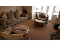 4 seater sofa, 2 Cuddle chairs and foot stalls