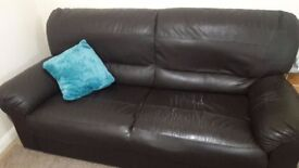 Used Black leather sofa : Free to Collect
