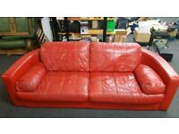 Couch Red Leather Large 2 Seater Sofa
