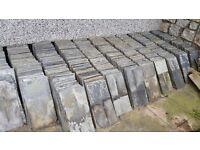 Weathered Delabole slates & ridge tiles