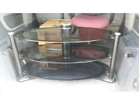 Large glass oval tv stand