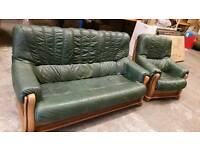 Oak leather 3 seater and chair