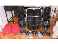 BLACK BUGABOO DONKEY TWIN+2 MAXI COSI PEBBLE CAR SEATS & MANY EXTRAS-RRP£1980.00