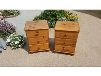 Pair of pine bedside cabinets in good condition