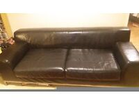 FREE - Black leather sofa, 3 seater. Collection only