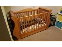 Tutti bambini Louis cot bed in Old English (solid wood) sleigh design with underbed storage drawer