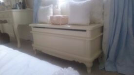 Stunning solid french style bedroom furniture. Chest drawers/headboard/tallboy/bedside units ottoman