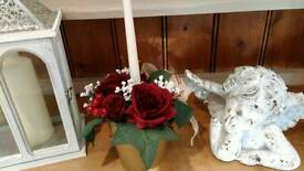 Artificial Christmas candle table centrepiece with silk Roses