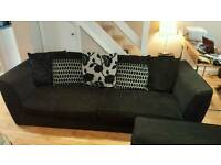 Dfs 4 seater black sofa and armchair. Great condition. Will deliver. £160 ono