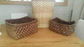 Laundry basket and 2 storage baskets