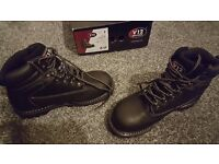 Waterproof steel toe boots - new, size 8