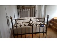 Victorian Black & Brass Cast Iron Double Bed frame and Silentnight Miracoil Mattress