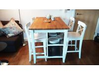White Kitchen Table and bar stools