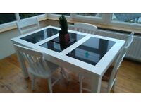 White Solid Wood Table & 2 Chairs